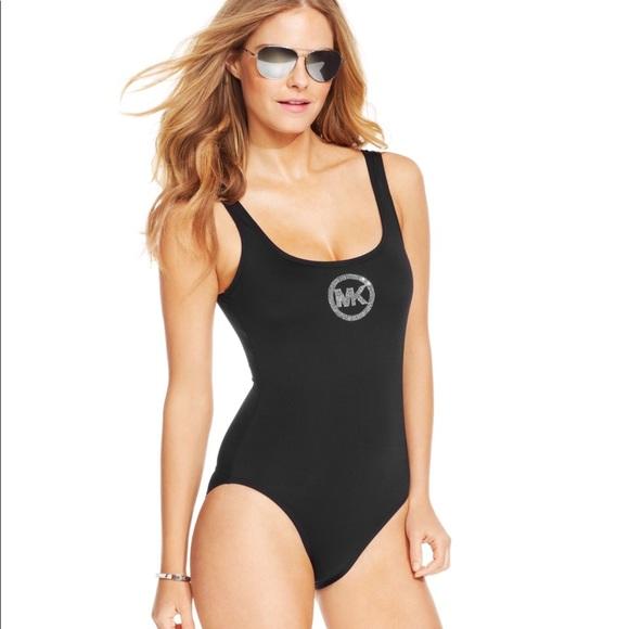 89eaa7f6aaa Michael Kors Black Rhinestone Logo Swimsuit. M_5c369a60a5d7c66e46287da3